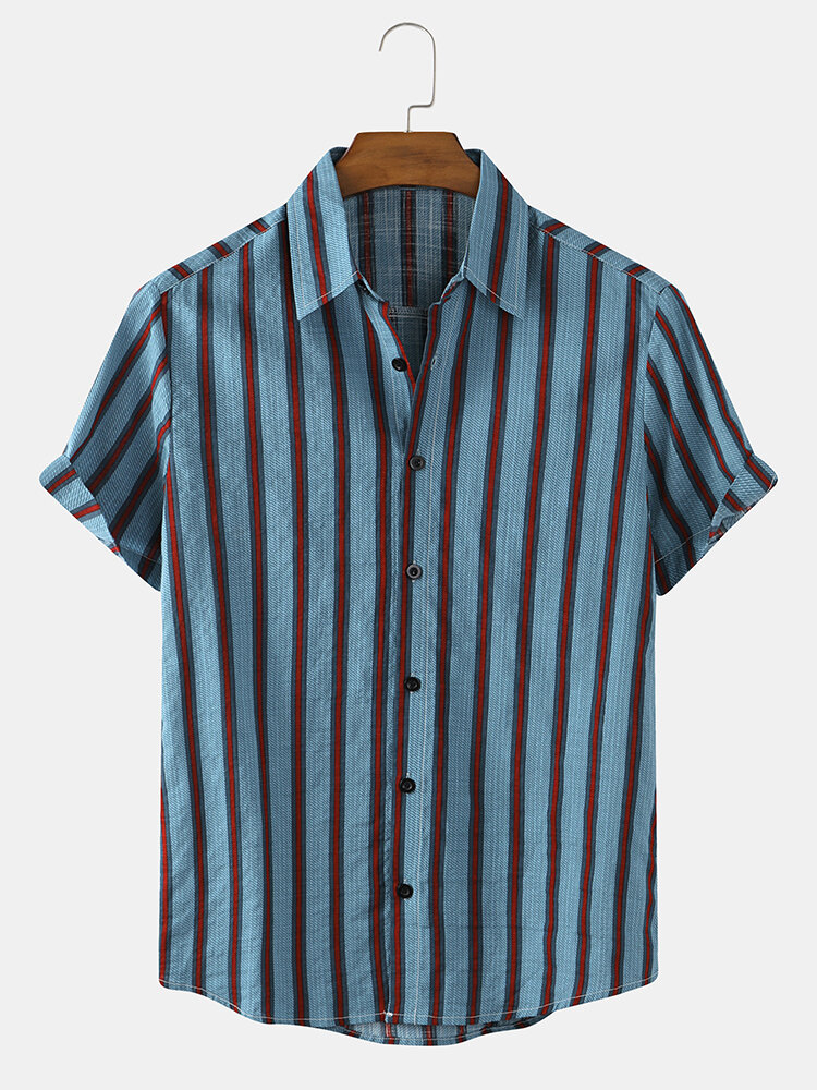 Mens Striped Cotton Breathable Casual Short Sleeve Shirts