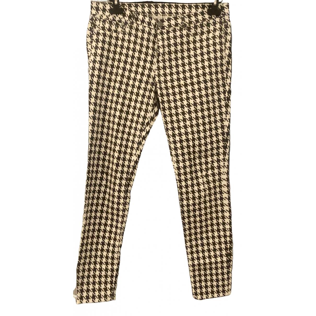 Zara \N White Cotton Trousers for Women 42 IT