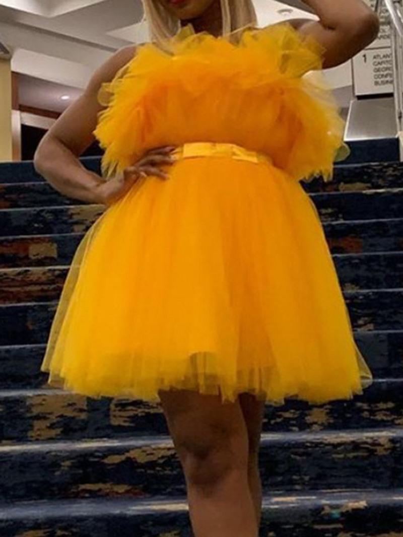 Ericdress Sleeveless Stringy Selvedge Above Knee High Waist Pullover Dress