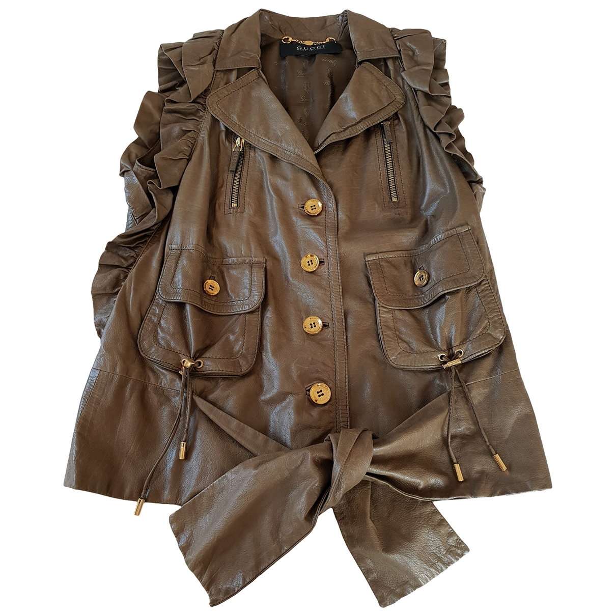 Gucci \N Khaki Leather Leather jacket for Women 40 IT