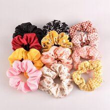 12pcs Gingham Pattern Scrunchie