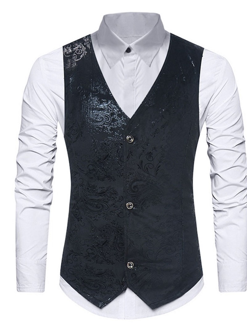 Ericdress Button Color Block V-Neck Single-Breasted Korean Men's Waistcoat