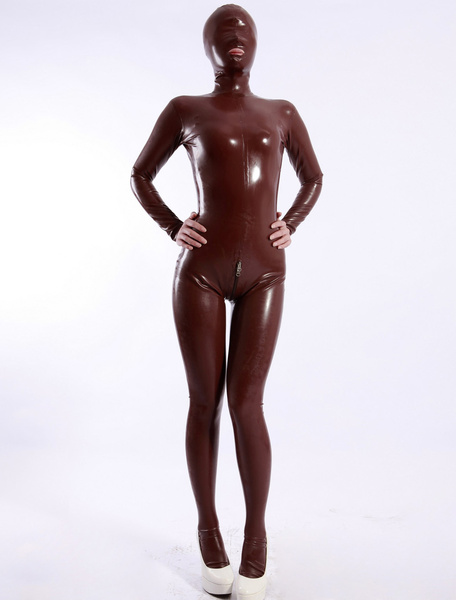 Milanoo Shaping Coffee Open Mouth Women's Latex Catsuit