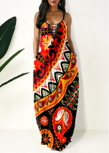 Cocktail Party Dress Side Pocket Tribal Print Spaghetti Strap Maxi Dress - M