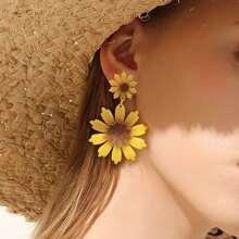 Double Flower Drop Earrings 1pair