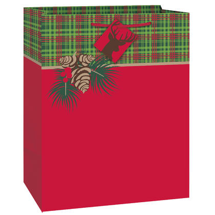 Red and Green Tartan Christmas Large Gift Bag, 13 x 10.5 x 5.5 in, 1ct