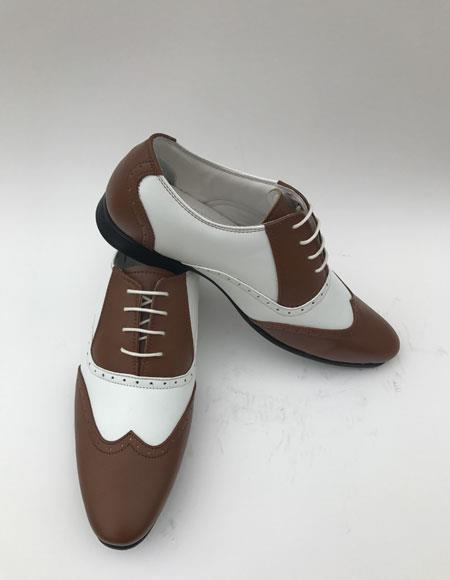 Men's Wingtip Lace Up Style Brown ~ White Two toned color Dress Shoes