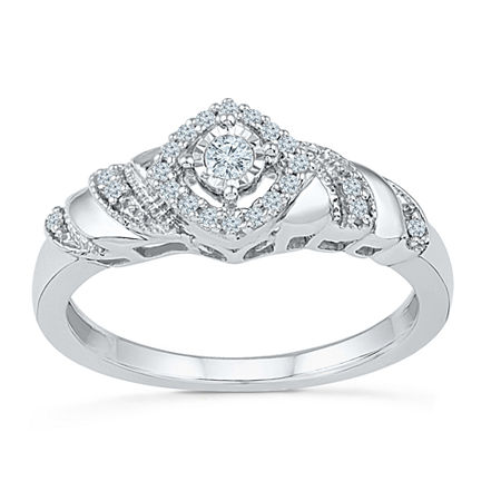 Promise My Love Womens 1/5 CT. T.W. Genuine White Diamond Sterling Silver Round Promise Ring, 8 , No Color Family