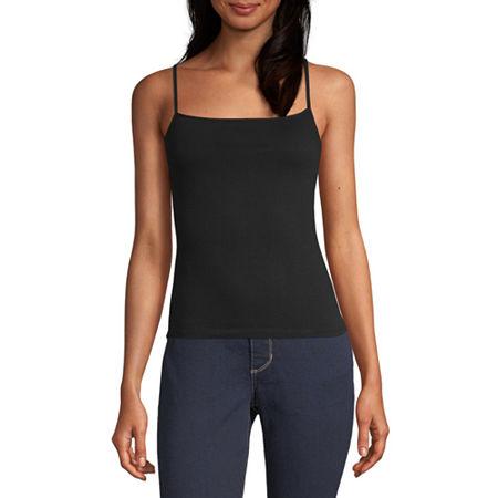 Arizona Womens Square Neck Semi-Cropped Camisole - Juniors, 3x-large , Black