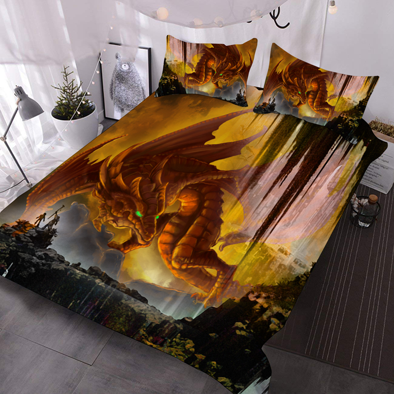 3D Red Dragon Lightweight Warm 3Pcs Breeze Comforter with 2 Pillow Cases