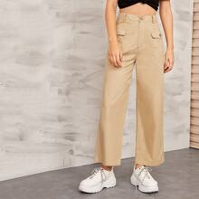 Solid Flap Pocket Front Wide Leg Cargo Pants