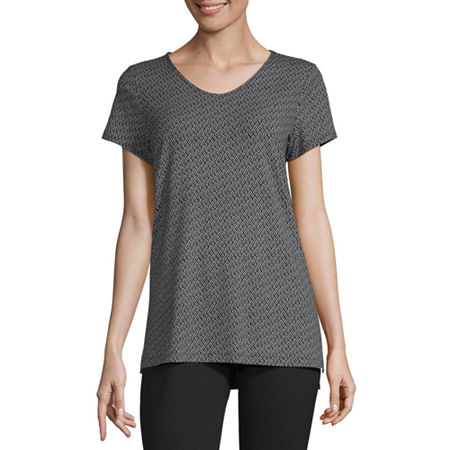 Liz Claiborne Studio-Womens V Neck Short Sleeve T-Shirt, Medium , Black