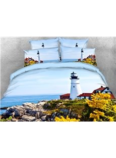 The White Lighthouse On The Island 3D Printed 4-Piece Polyester Bedding Sets/Duvet Covers
