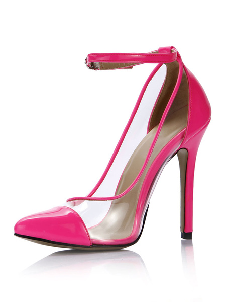Milanoo Women High Heels Pink Pointed Toe Ankle Strap Pumps Clear Heeled Shoes