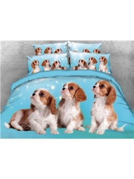 Puppies Printed 4-Piece Blue 3D Bedding Sets/Duvet Covers