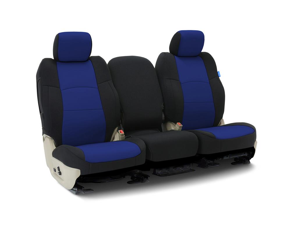 Coverking CSCF3TT9720 Custom Seat Covers 1 Row Neoprene Blue | Blue Sides Front Toyota Tundra 2014-2021