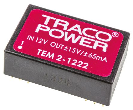 TRACOPOWER TEM 2 2W Isolated DC-DC Converter Through Hole, Voltage in 10.8 → 13.2 V dc, Voltage out ±15V dc