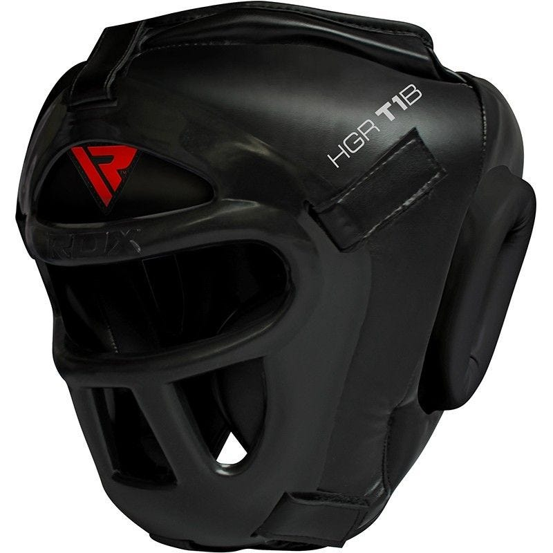 RDX T1 Head Guard Full Removable Face Grill in Black PU Leather Extra Large