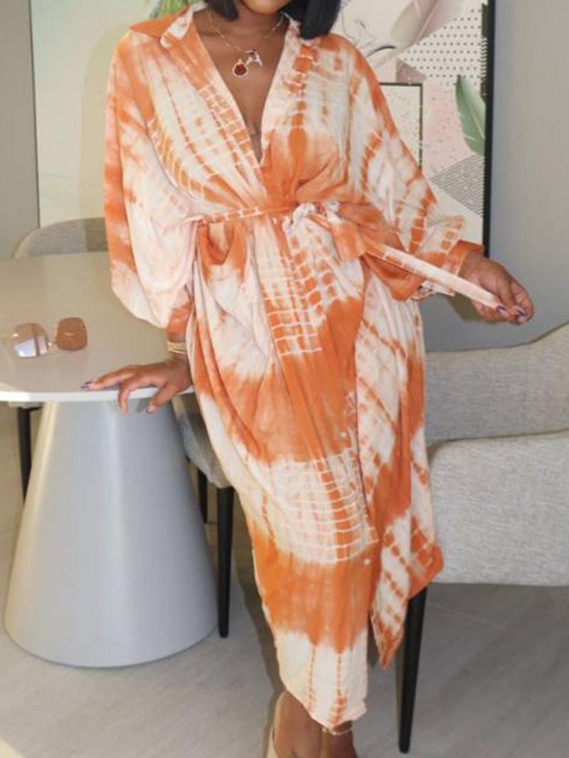 Ericdress Long Sleeve Lapel Mid-Calf Mid Waist Casual Dress