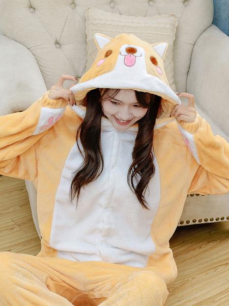 Milanoo Kigurumi Pajamas Shiba Inu Dog Onesie Adults Unisex Flannel Winter Sleepwear Costume Cosplay Halloween