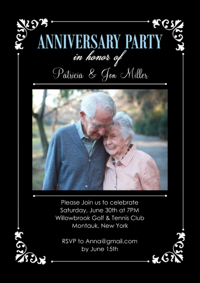 Anniversary Invitations Flat Matte Photo Paper Cards with Envelopes, 5x7, Card & Stationery -Anniversary Party Corner Frame Photo
