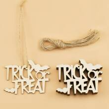 10pcs Halloween Wooden Pendant With Rope