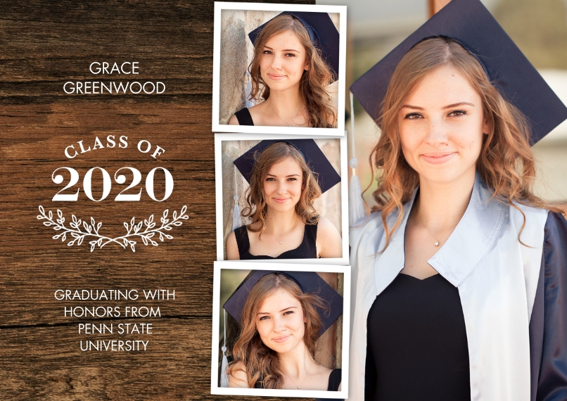2020 Graduation Announcements 5x7 Cards, Premium Cardstock 120lb with Scalloped Corners, Card & Stationery -Grad 2020 Branches by Tumbalina