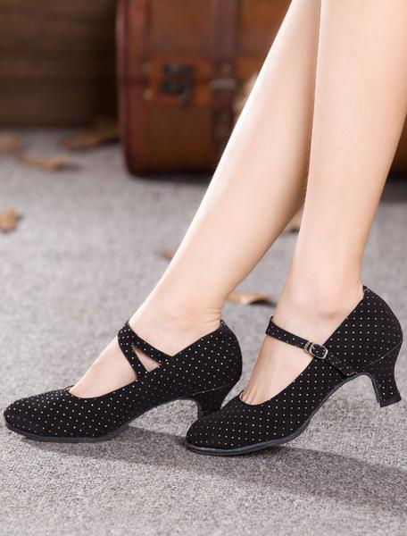Milanoo Black Dance Pumps Straps Print Suede Heels for Women