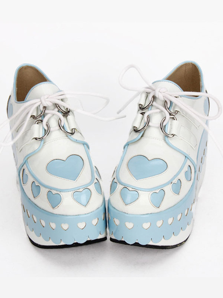 Milanoo Lolita Platform Shoes Hearts High Platform Lolita Deck Shoes With Laciness