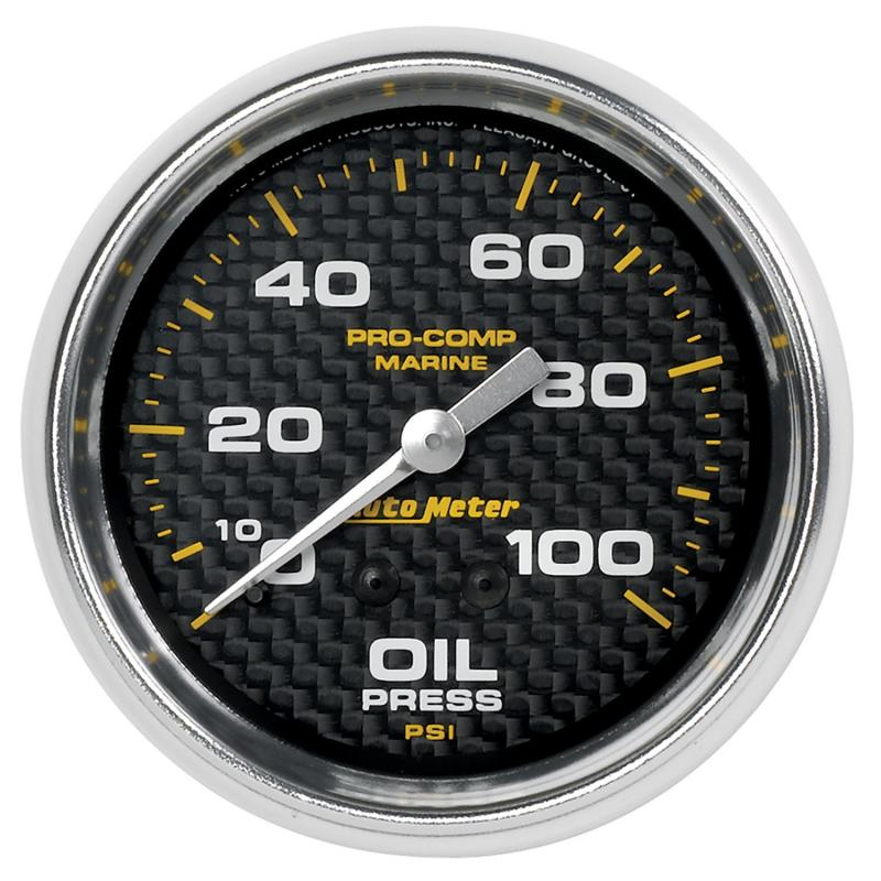 AutoMeter GAUGE; OIL PRESSURE; 2 5/8in.; 100PSI; MECHANICAL; MARINE CARBON FIBER