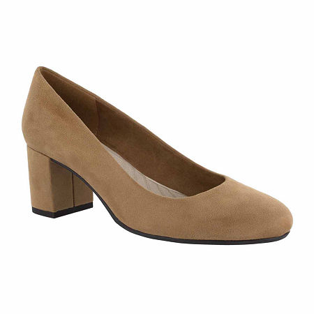 Easy Street Womens Proper Pumps Block Heel, 8 Medium, Brown
