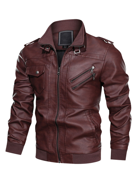 Milanoo Men\'s Leather Jackets Zippered Ribbed Biker Jakcet