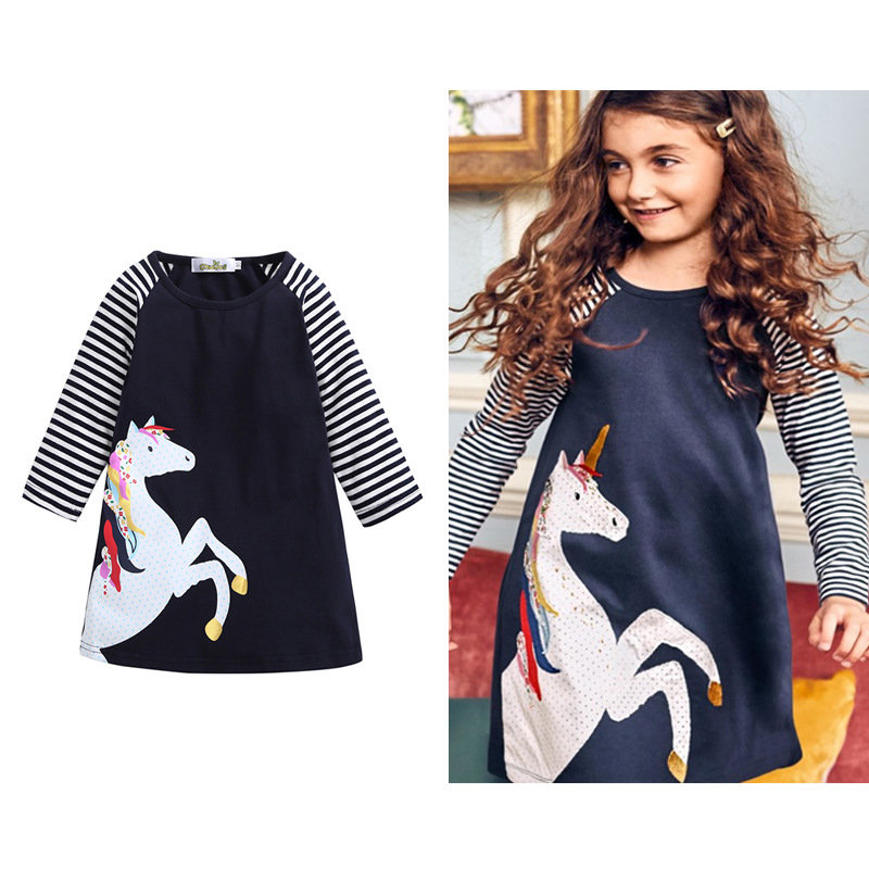 Horse Pattern Girls Striped Long Sleeve Casual Dress School Clothes For 2Y-11Y