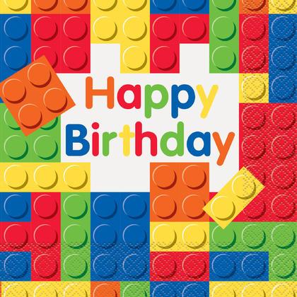 Building Blocks Birthday Luncheon Napkins, 16ct Pour la fête d'anniversaire
