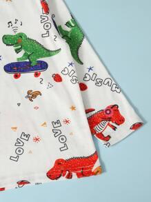 Toddler Boys Cartoon Dinosaur & Letter Graphic Tee