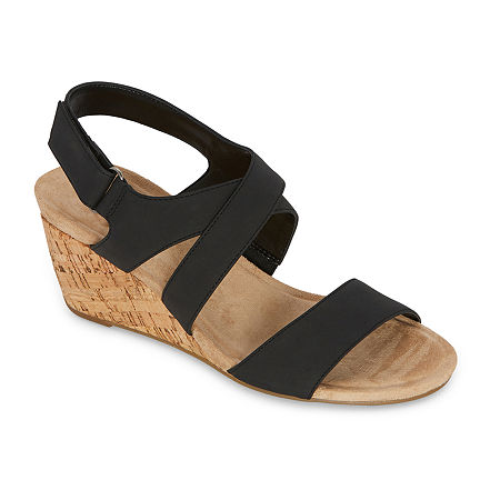 St. John's Bay Womens Pasque Wedge Sandals, 8 Wide, Black