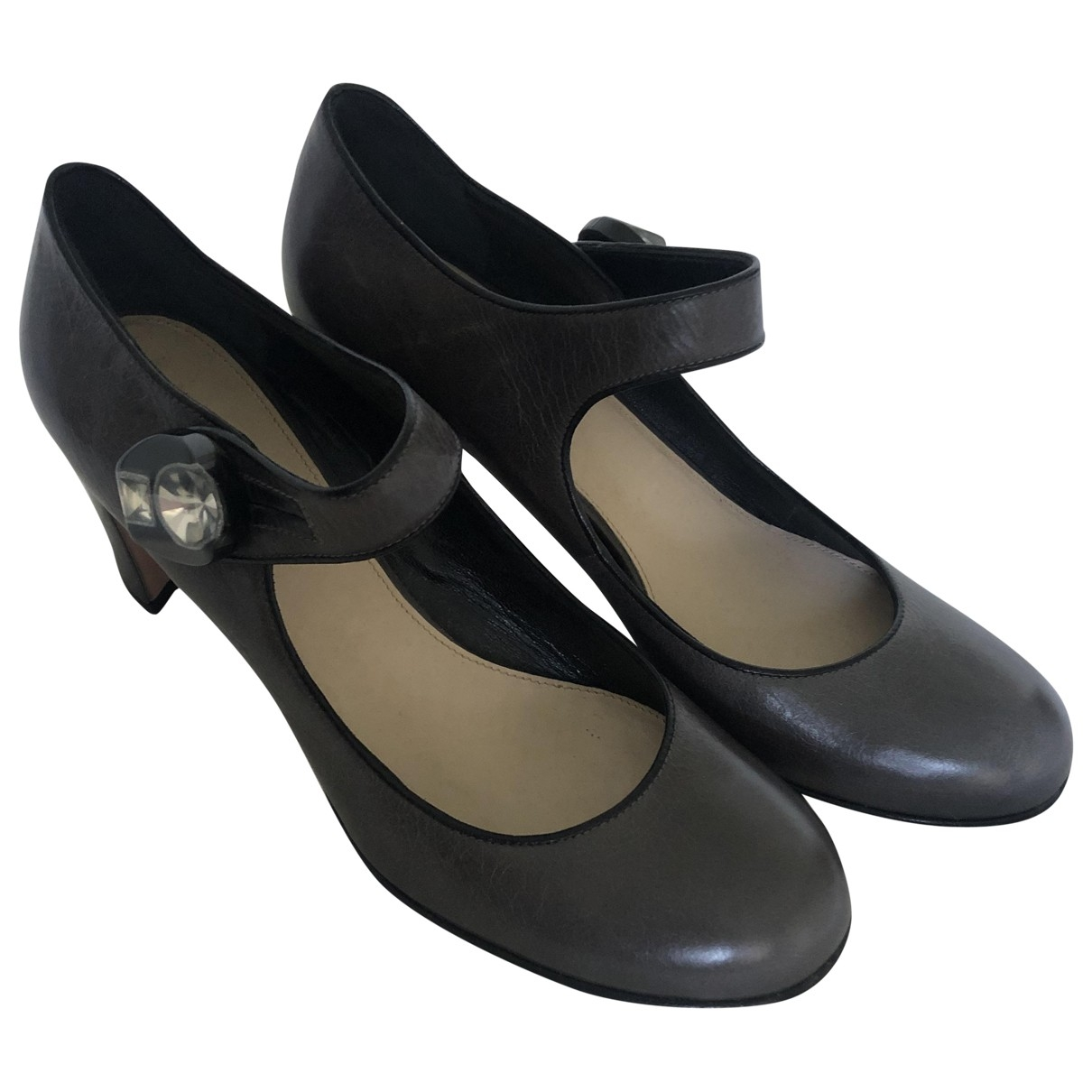 Prada Mary Jane Grey Leather Heels for Women 38 EU