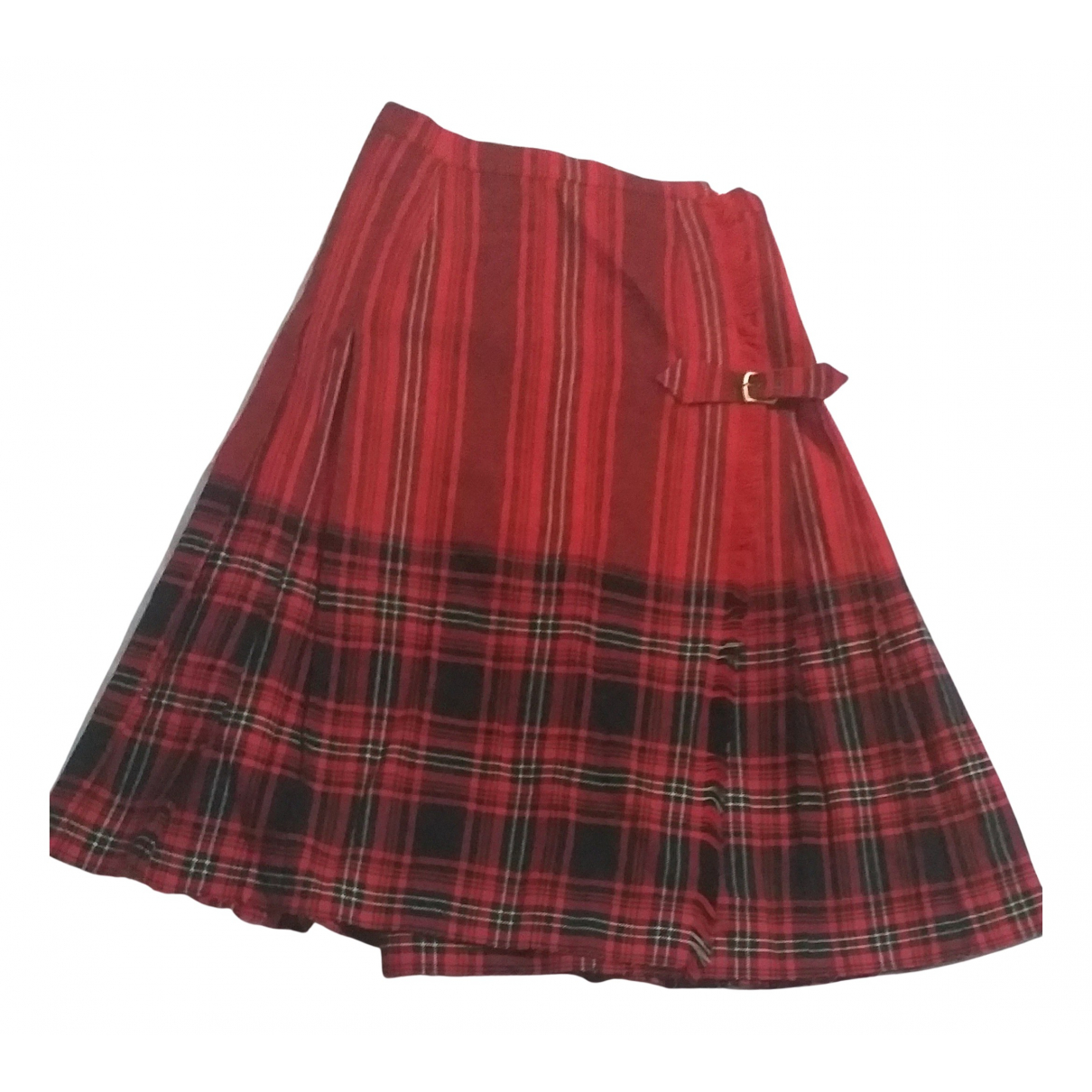 Non Signé / Unsigned N Red Wool skirt for Women M International