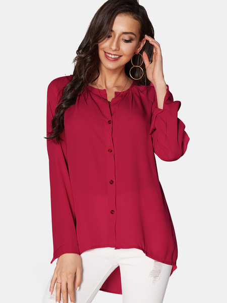 Yoins Red Cozy V-neck Long Sleeves Button-down Chiffon Blouse