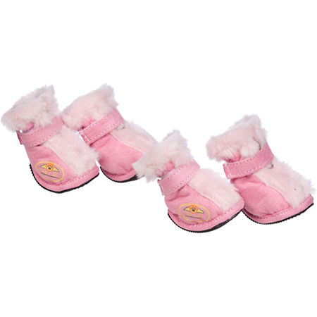 The Pet Life Fashion Plush Premium Fur-Comfort Suede Supportive Pet Shoes, One Size , Pink