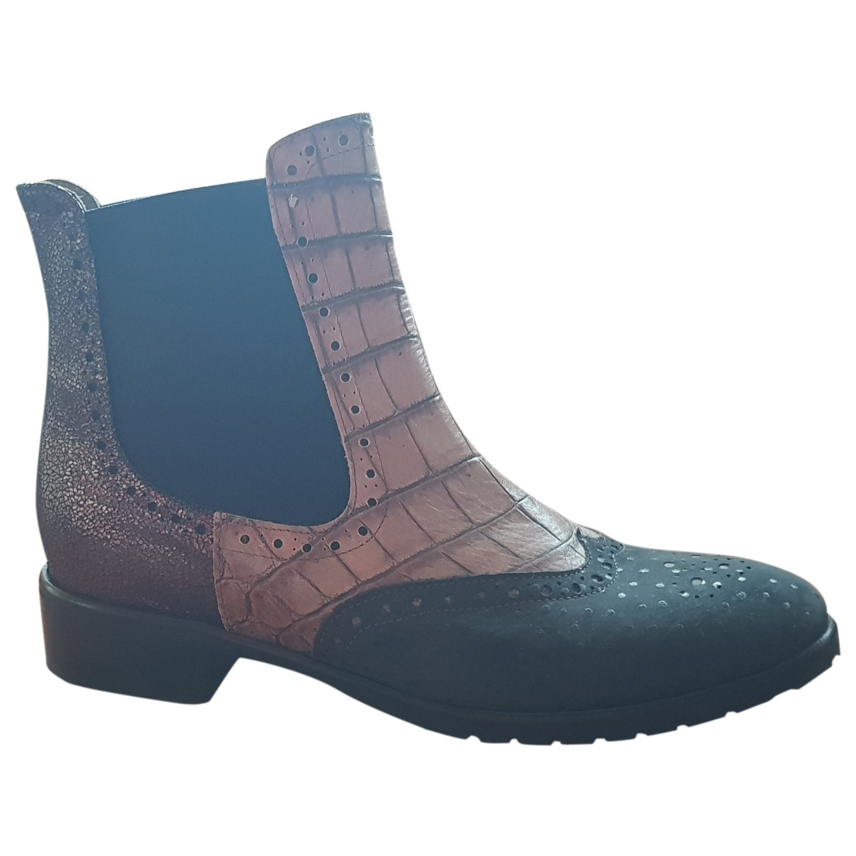 Non Signé / Unsigned \N Blue Leather Ankle boots for Women 41 EU
