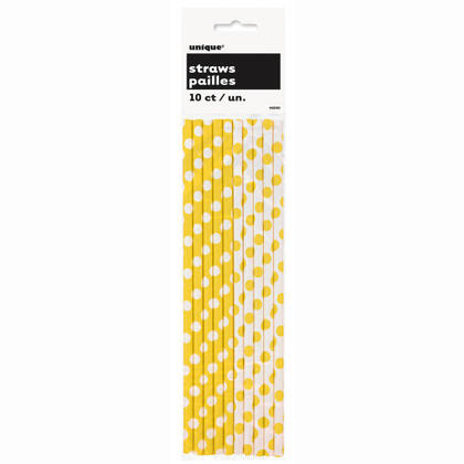 Party Paper Drinking Straws Decorative Dots Sunflower Yellow 10Pcs