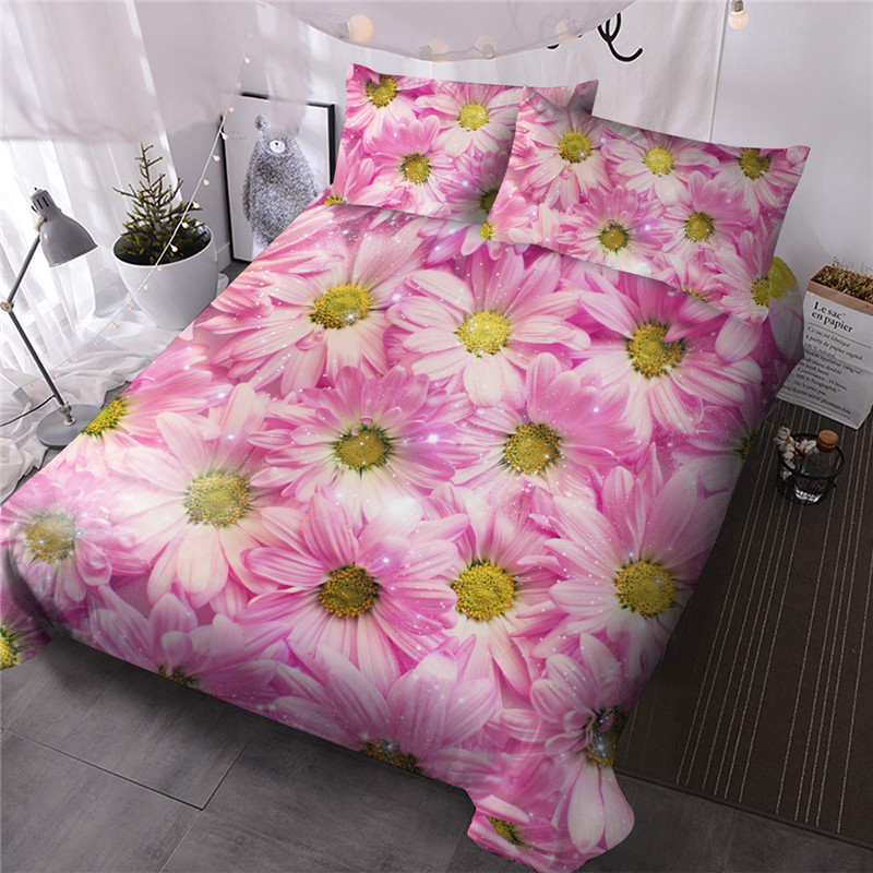 Pink Daisy Three-Piece Set Comforter Set Reactive Printing Polyester Bedding Sets Skin-friendly Ultra-soft Microfiber No-fading