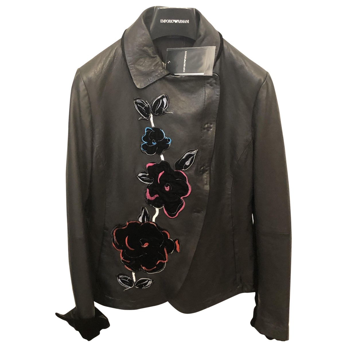 Emporio Armani \N Black Leather Leather jacket for Women 40 IT
