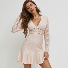 Guipure Lace Insert Ruffle Hem Dress