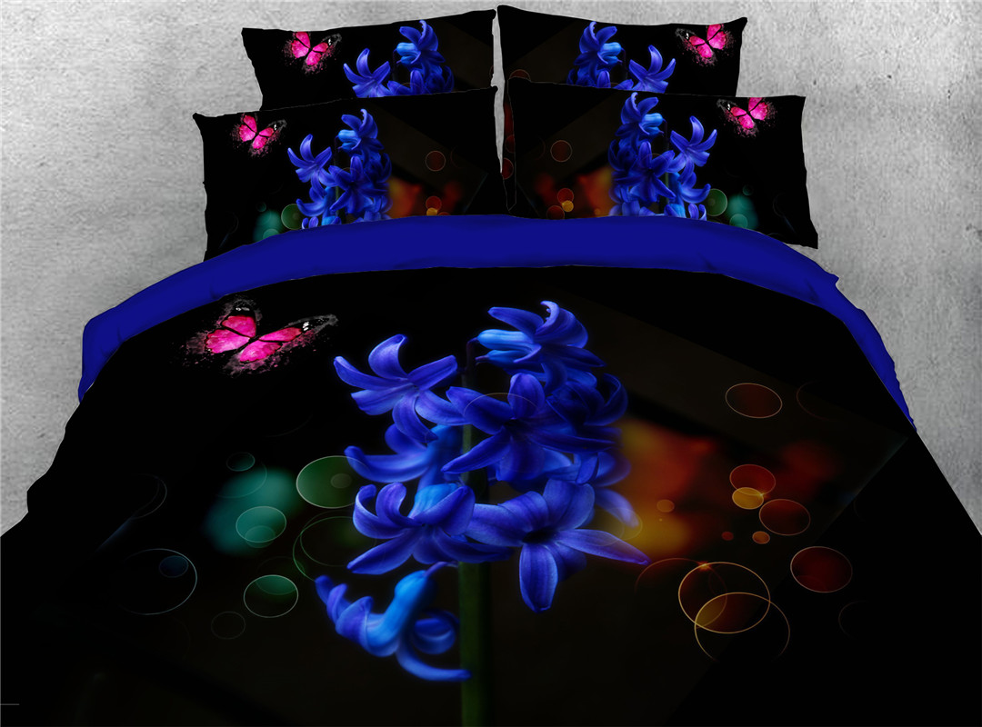 Floral Blue Hand Wash Four-Piece Set Duvet Cover Set Reactive Printing Polyester Bedding Sets Skin-friendly All-Season