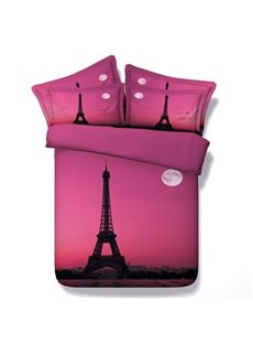 Paris Eiffel Tower and the Moon Printed Cotton 3D 4-Piece Pink Bedding Sets