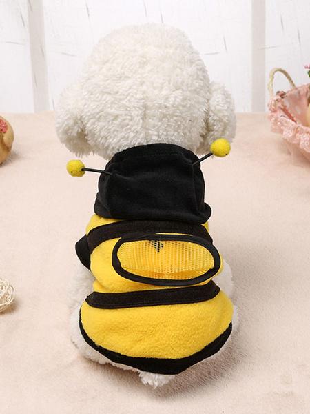 Milanoo Bee Pet Costume Yellow Clothes Polar Fleece Pet Supply