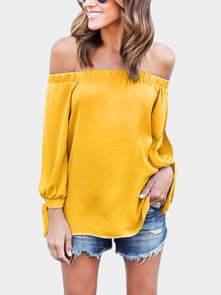 Yoins Yellow Tie At Cuffs Off Shoulder Long Sleeves Blouse