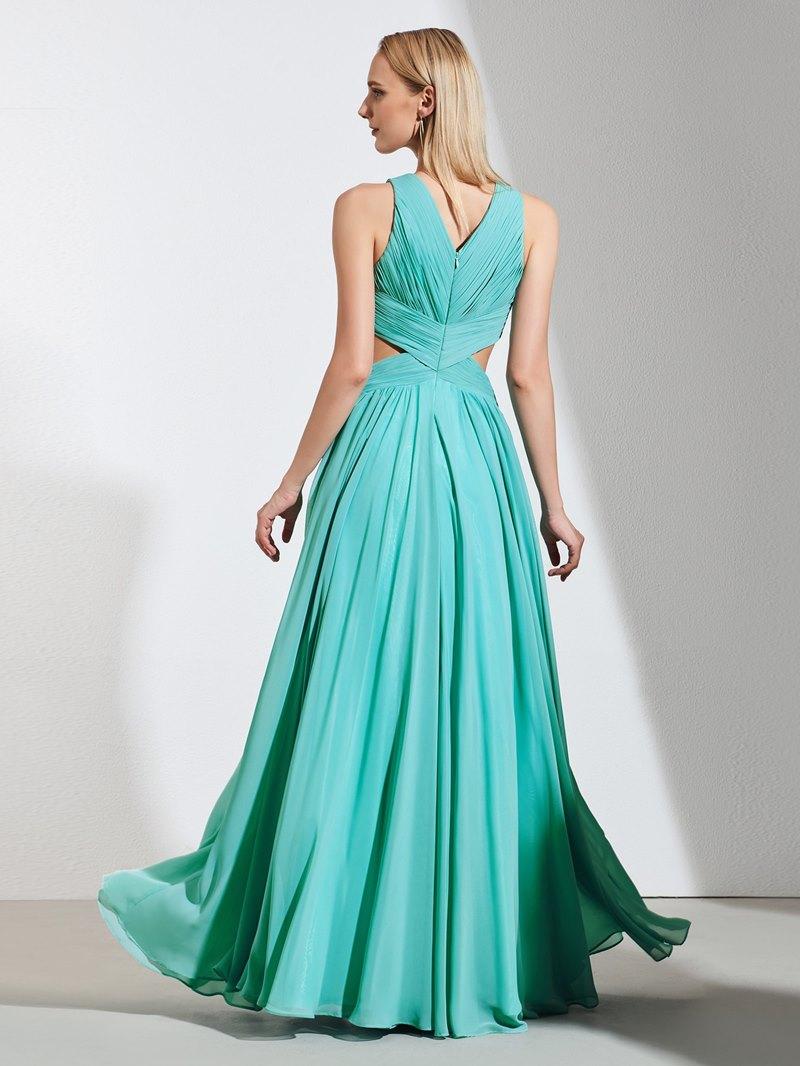 Ericdress A Line Pleats Lace Applique Long Prom Dress